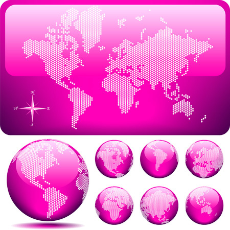Vector dotted Map and Globe of the World - glossy PINK. Vector