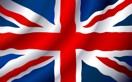 english flag: VECTOR United Kingdom flag waving in the wind.(Only gradient used, easy to edit )