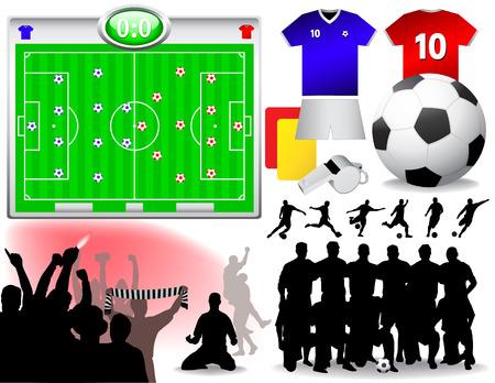 uefa: Fu�ball-Set - Vektor-Illustrationen. (Alle Elemente sind in Schichten und leicht zu bearbeiten)