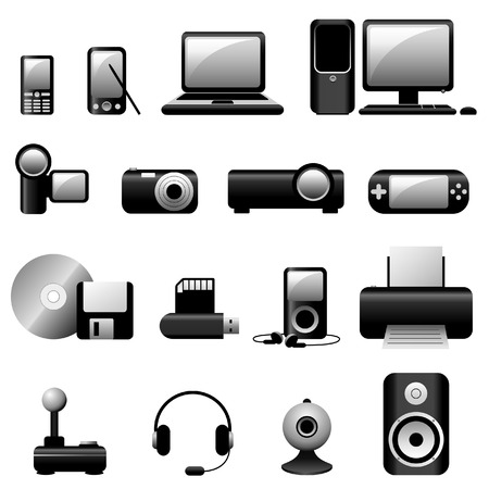 Multimedia Vector Icons - Black Stock Vector - 4451918