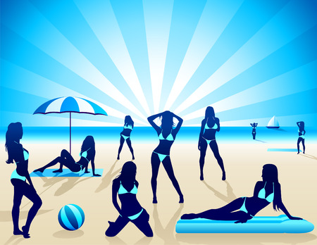 Sexy Women on the beach Illustration