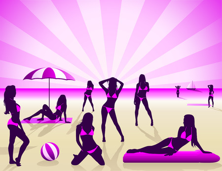 Sexy Women on the beach - Vector