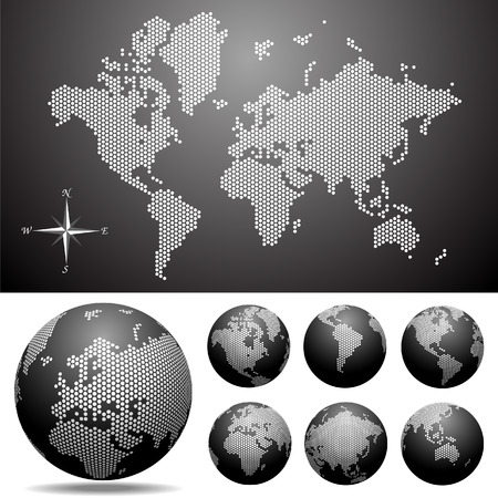 Vector dotted Map and Globe of the World - Easy change colors. Ilustração