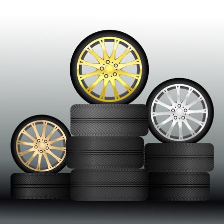 aluminum wheels: Medallas de ruedas - Vector Vectores