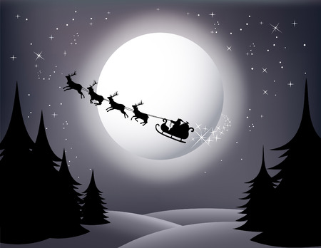 santas sleigh: Santa`s Sleigh - vector (gray version) check Out My Portfolio For Similar Illustrations...  Illustration