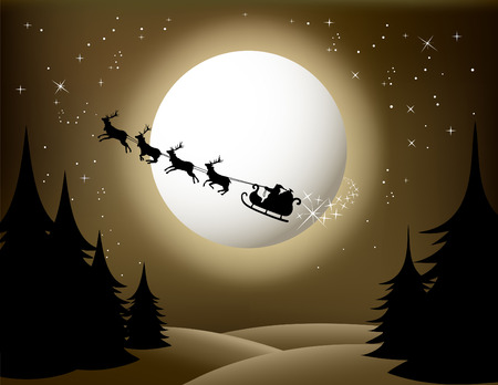 Santa`s sleigh - vector (sepia version)  Illustration