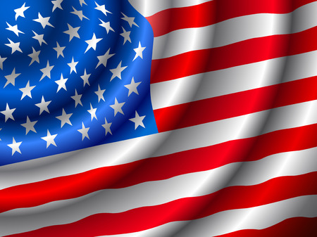 VECTOR American flag waving in the wind. (Only gradient used, easy to edit )  Ilustração