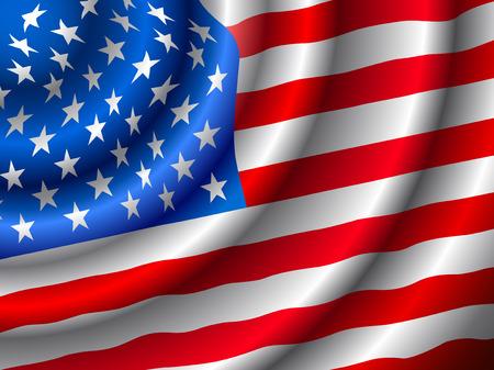 estados unidos bandera: VECTOR bandera estadounidense flameando en el viento. (S�lo gradiente utilizado, f�cil de editar) Vectores