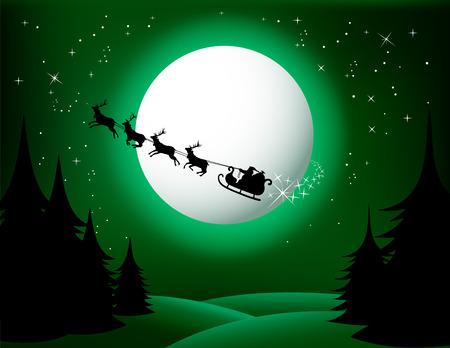 weihnachten: Santa`s sleigh - vector (green version) Check Out My Portfolio For Similar Illustrations...