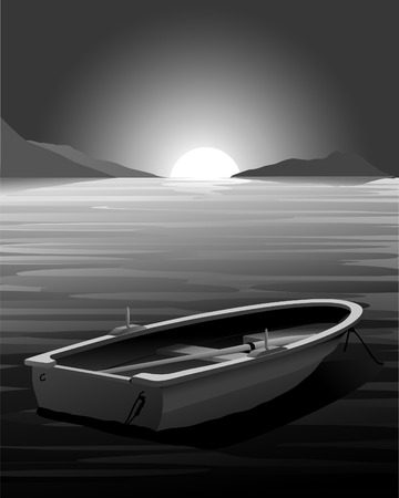 rowboat: Barca boat at Sunset - escena Dark
