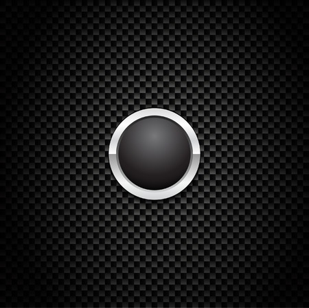 Vector knop op Carbon Fiber achtergrond. Eps10!