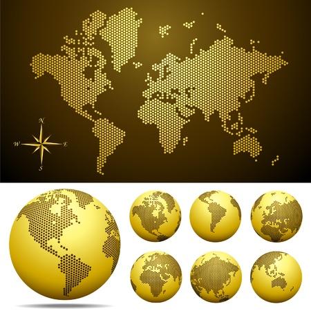 mapa europa: Mapa con puntos y globo del mundo - oro de vectores