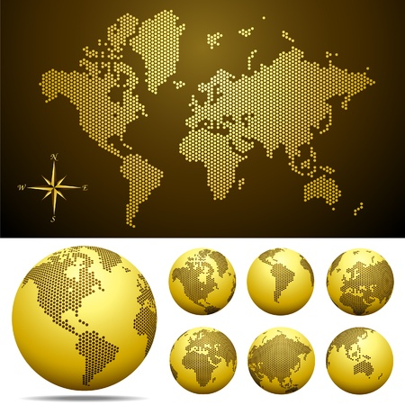 atlantic ocean: Vector dotted Map and Globe of the World  - Gold