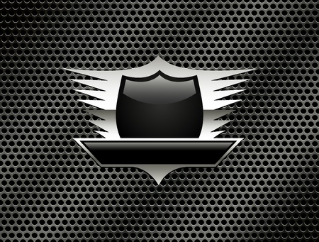 Shield with wings on the metal grill background.