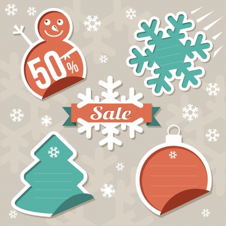 Vector  Christmas Sticker tags - Sale Vector