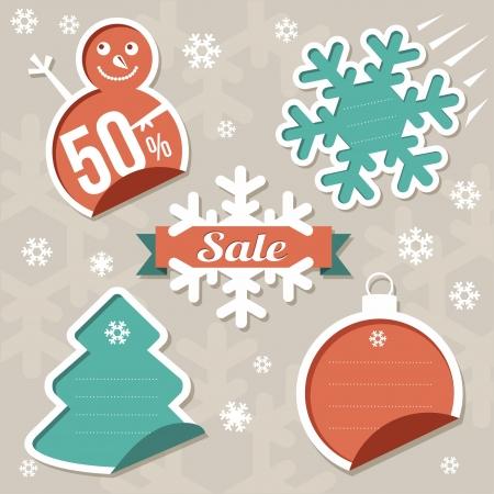 Vector  Christmas Sticker tags - Sale Stock Vector - 16530626