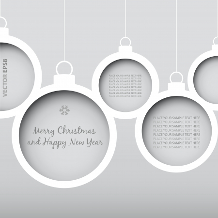 Vector Christmas Balls - cut from paper concept  Vector Eps8 - No transparency Vector