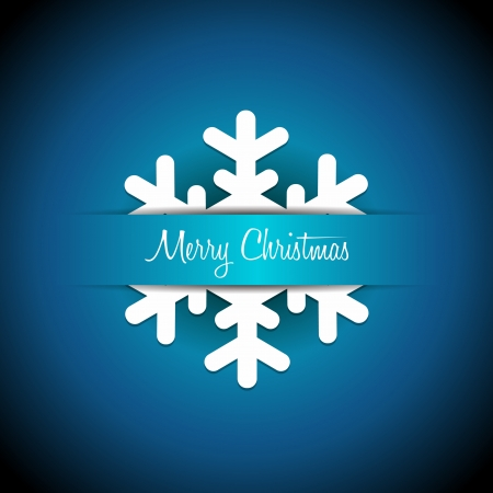 Christmas background with snowflake - Merry Christmas lettering  BLUE VERSION  Stock Vector - 16702268
