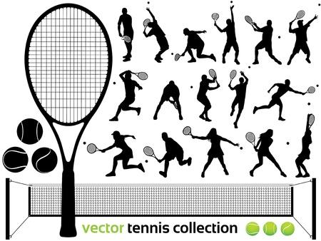tennis: Joueurs de tennis Silhouettes - D�tail de collecte de tennis de haut