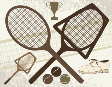 raqueta de tenis: Elementos Tenis Antigua Vectores