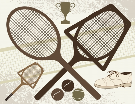 tennis shoe: Old Tennis Elements  Illustration