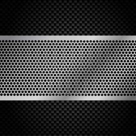Metal Grill on Carbon Fiber Background Vector