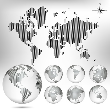 sea world: dotted Map and Globe of the World Illustration