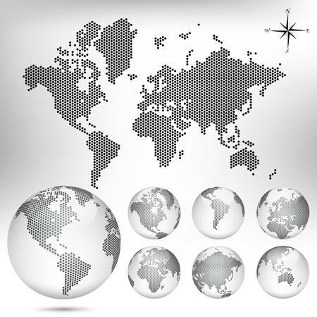 mapa de africa: Mapa de puntos y Globo del Mundo
