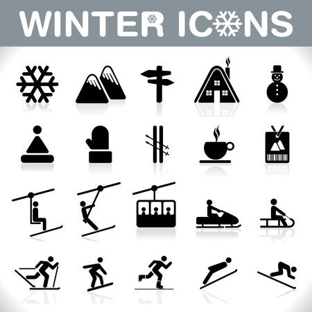 스키: 겨울 아이콘 설정 일러스트
