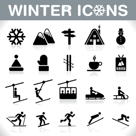 mountain skier: Winter Icons set