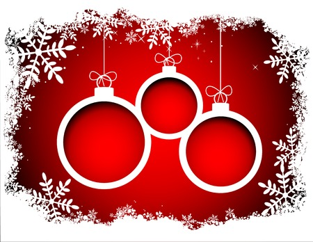 Christmas balls with snowflake frame Vector