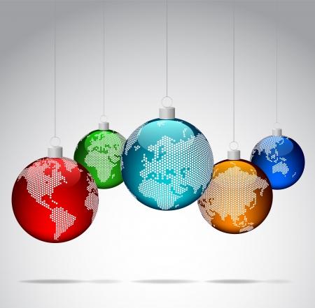 Bolas de Navidad con mapas del mundo con puntos Ilustración de vector