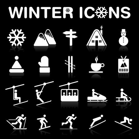 ski jump: Winter Icons Set  Negative Illustration