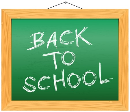 Back to school, written on blackboard - vector illustration