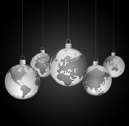 Christmas ornaments with world dotted maps - gray on black background - Christmas travel - Vector eps10 Illustration