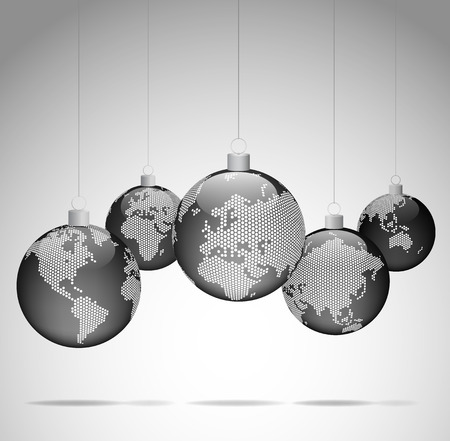 new world: Christmas balls with world dotted maps - Christmas travel - Gray ver.  Vector eps10 Illustration