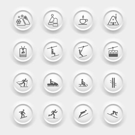 ski pass: Winter Icons - Buttons Set - Ski sport