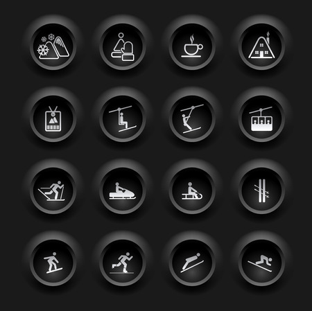 Winter Icons - Buttons Set - Ski sport - Black Series