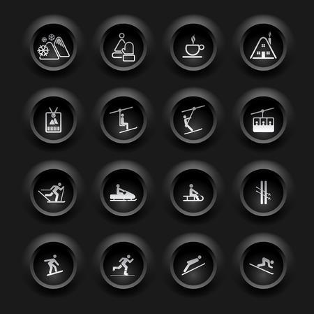 ski pass: Winter Icons - Buttons Set - Ski sport - Black Series