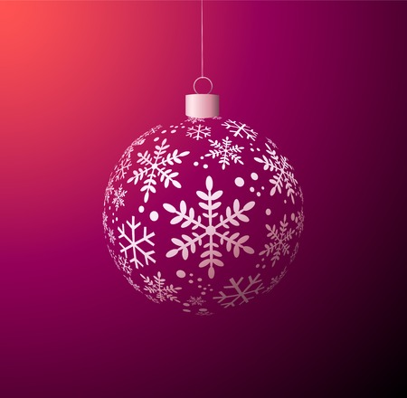 year curve: Vector Christmas ball on purple background Illustration
