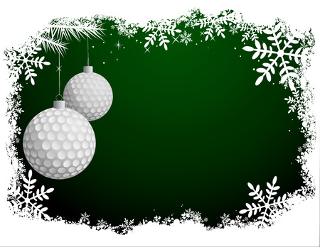 golf ball: Golf Christmas Background Illustration