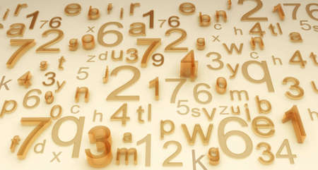 compute: Illustration of different numbers and letters. Looks like background, system, code or just secret disorder Stock Photo