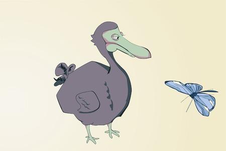 pato caricatura: Dodo de dibujos animados, mirando la mariposa. Ilustraci�n vectorial.