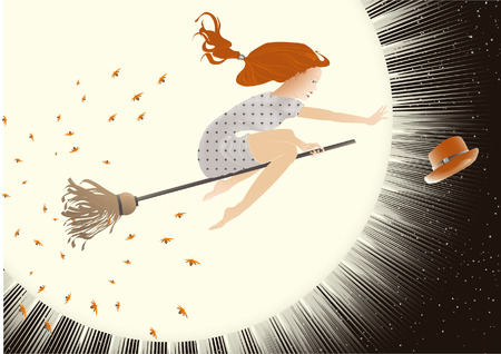 Beautiful woman flying on a broom through the darkness. Halloween illustration. Vector