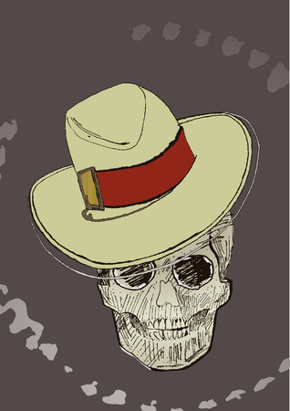 Ink drawing halloween skull. Hat on a separate layer, you can easy remove it and get a whole skull. Vector