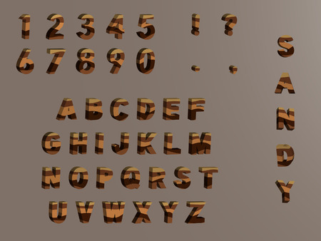 alphabetic character: Lamellar sandy 3d alphanumerical . Each alphabetic character and figure on separeted layer. Easy to isolate from background and edit. Illustration
