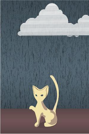 devanear: Cartoon cat in the rain . Vector illustration.