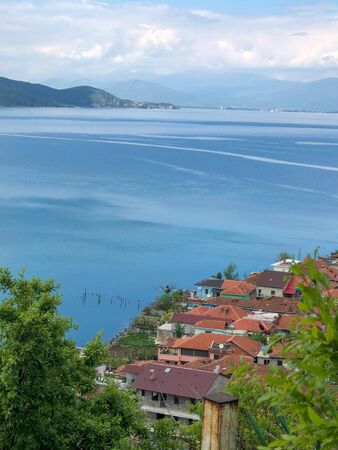 Lake Ohrid seen from Albania to the Macedonian side