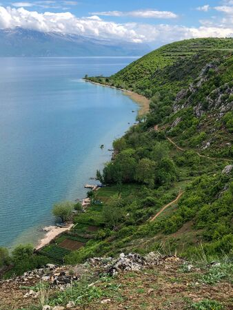 Green hill at Lin beside the blue Lake Ohrid