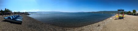 Panorama from Lake Ohris seen from the beach at Struga